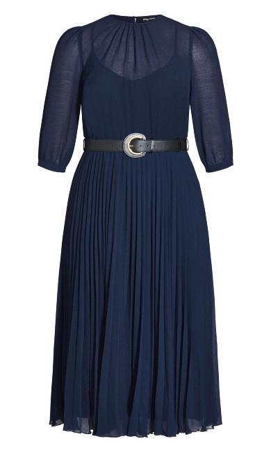 Love Pleat Elbow Sleeve Dress - navy