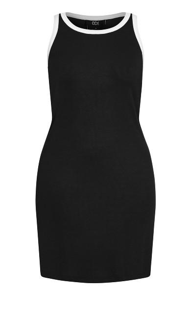 Contrast Dress - black