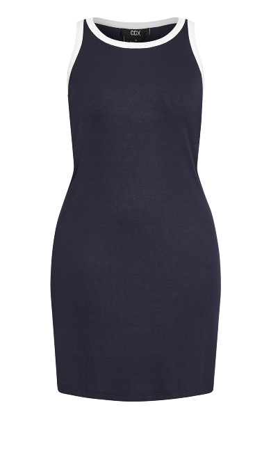 Contrast Dress - navy