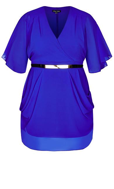 Draped Faux Wrap Dress - cobalt