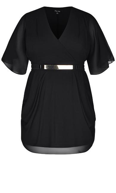 Draped Faux Wrap Dress - black