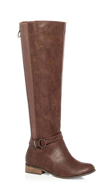 Plus Size Phoebe Knee High Boot - chocolate