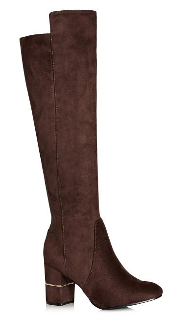 Plus Size Priscilla Long Boot - chocolate