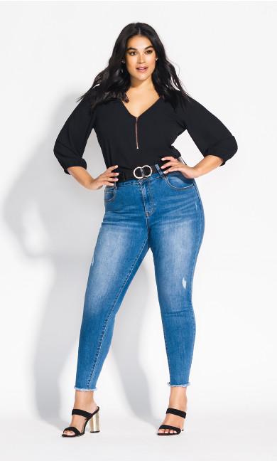 Women's Plus Size Sexy Fling Elbow Sleeve Top - Black