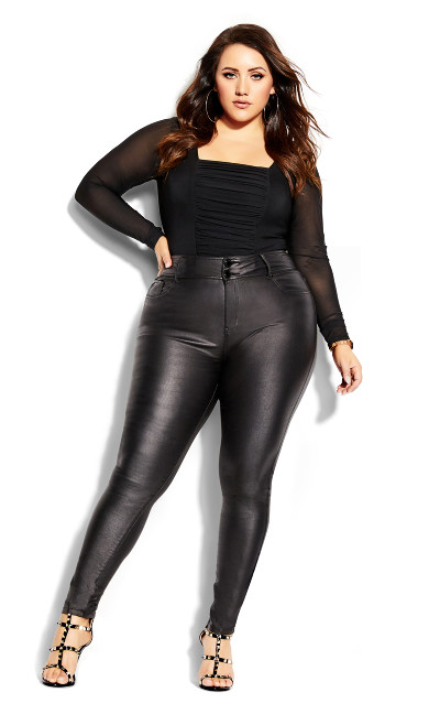 Plus Size Skylar Short Coated Skinny Jean - black