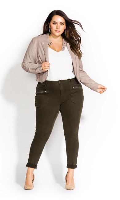 Women's Plus Size Cropped Biker Jacket - oyster