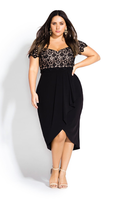 Women's Plus Size Black Lace Glamour Dress