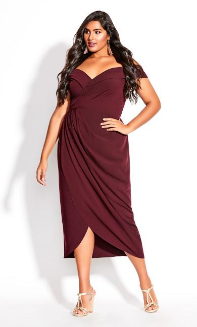 Women's Plus Size Rippled Love Dress - oxblood