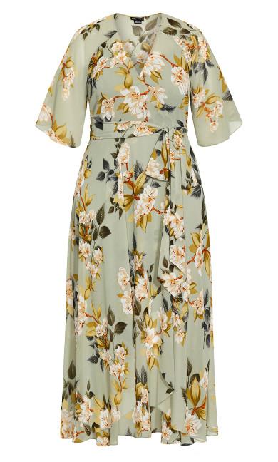 Magnolia Floral Maxi Dress - sage