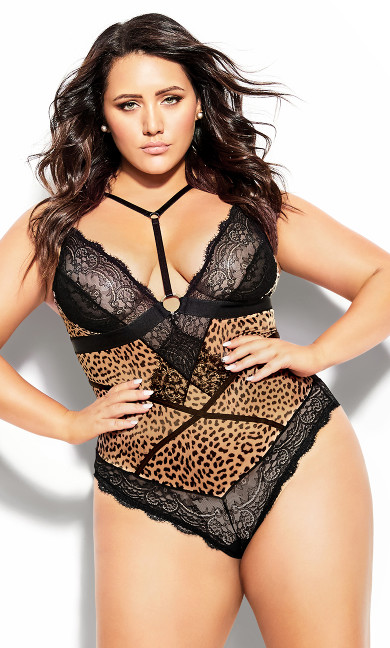 Women's Plus Size Boudoir Overt Bodysuit- Animal