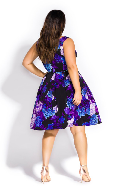 Hydrangea Fit & Flare Dress - black