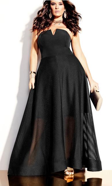 Textured Bella Maxi Dress - black