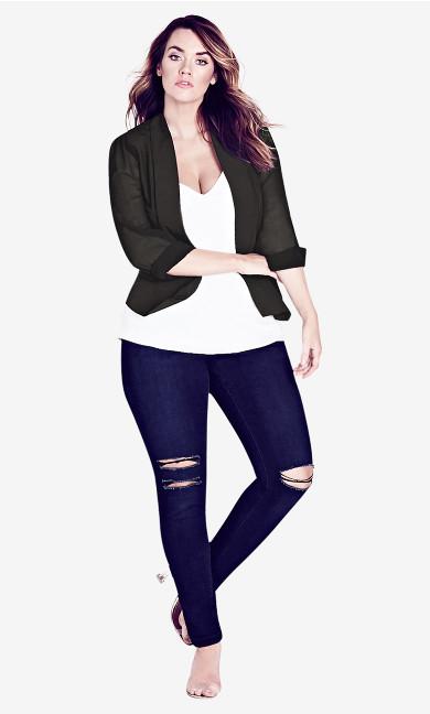 Women's Plus Size Black Drapey Blazer Jacket