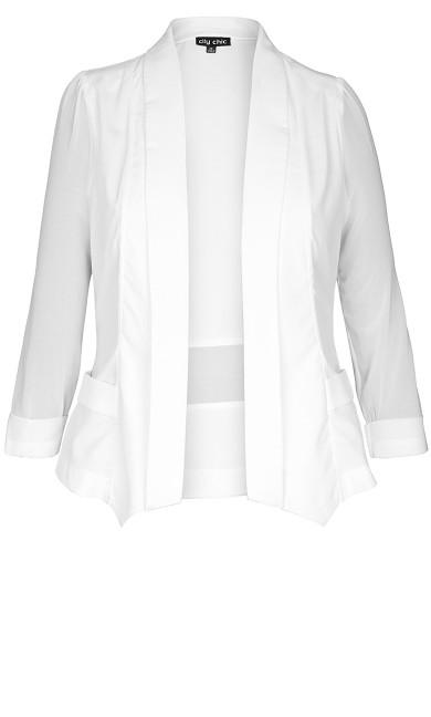 Drape Front  Blazer - Ivory