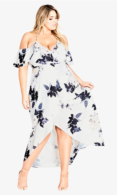 Women's Plus Size Delicate Ruffle Maxi Dress