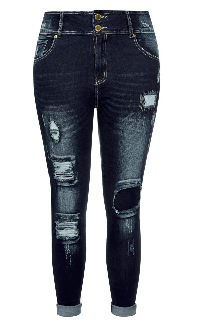 Asha Patched Skinny Jean - denim