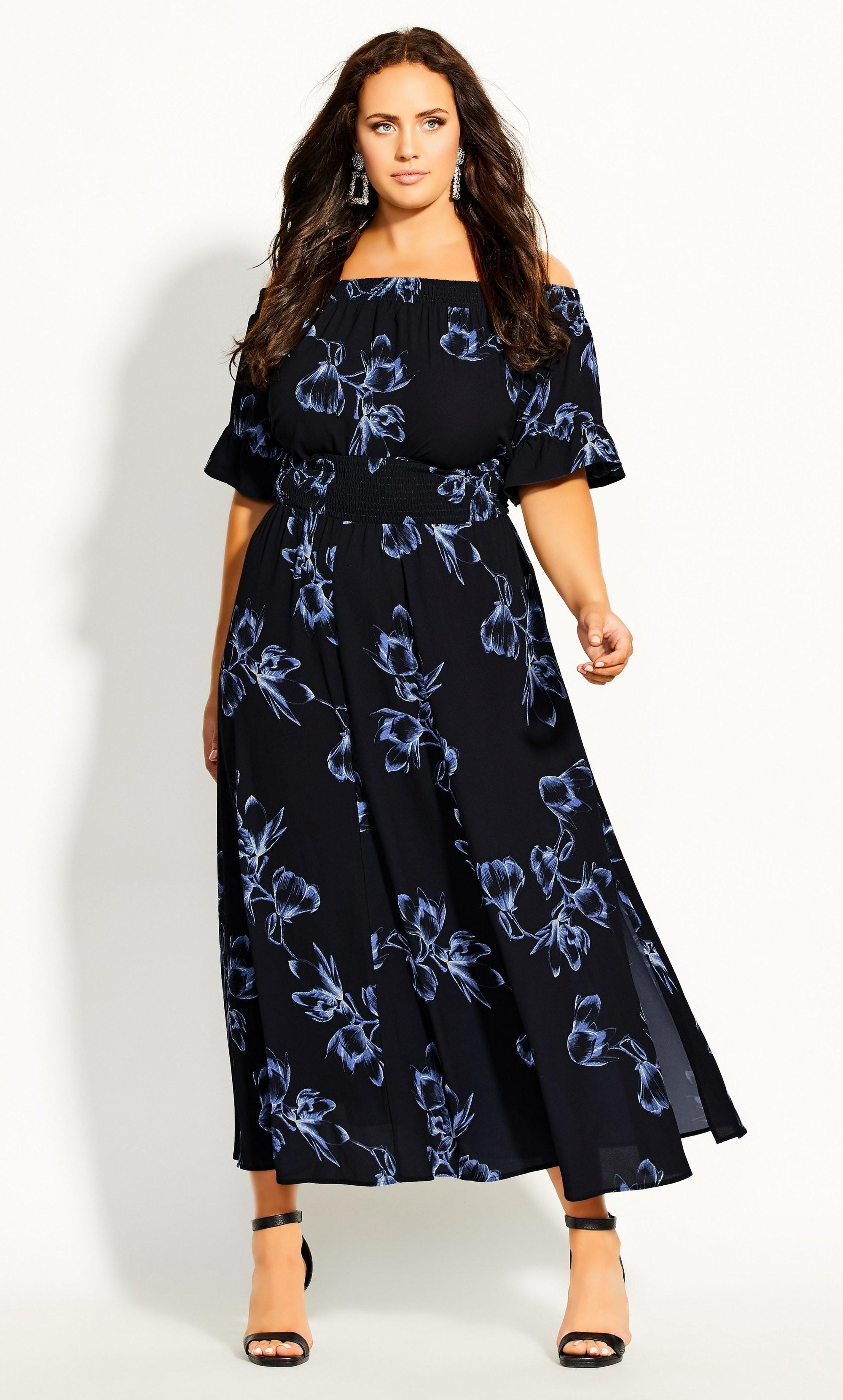 Plus Size Off The Shoulder Floral Print High Low Maxi Dress