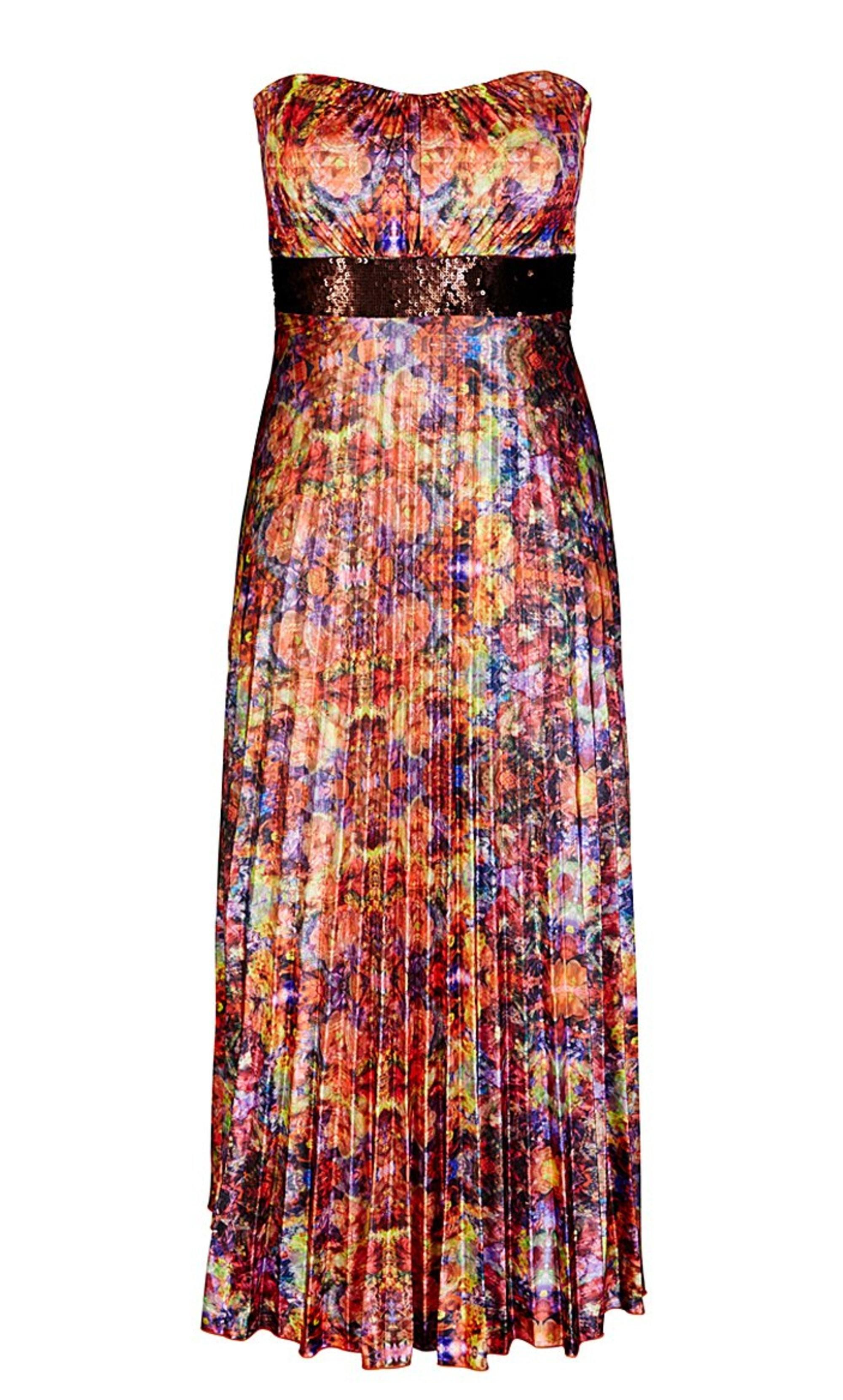 Mosaic Pleat Maxi Dress