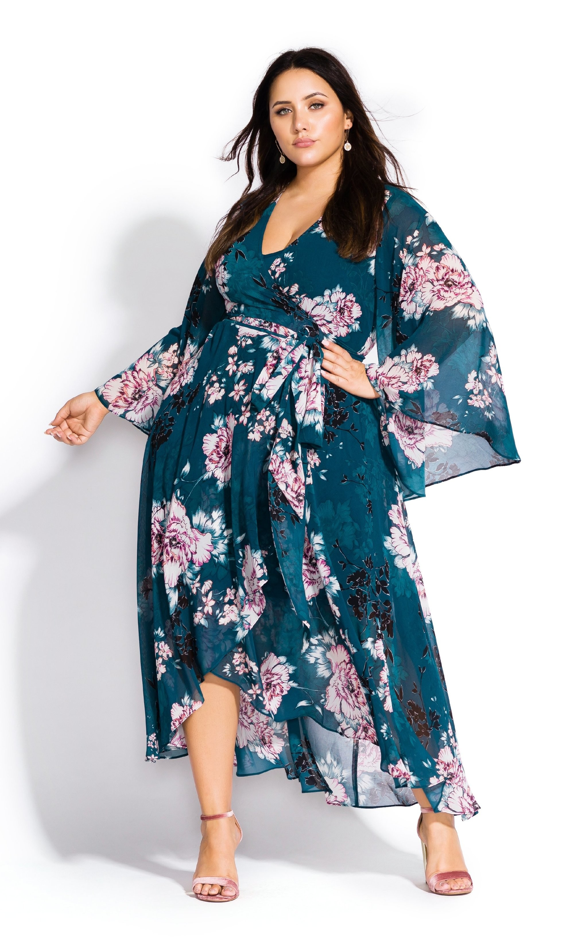 City Chic Womens Apparel Womens Short Sleeve Knee Length Waist Detailed Printed Dress Dress