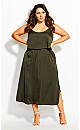 Double Layer Maxi Dress - military