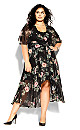 Vineyard Floral Maxi Dress - black