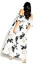 Plus Size Delicate Ruffle Maxi Dress - ivory