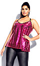 Plus Size Glimmer Top - hot pink