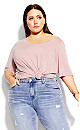 Plus Size Off Shoulder Tee - dusty rose