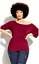 Plus Size Off Shoulder Tee - ruby