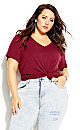 Plus Size Deep V Tee - ruby