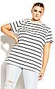 Stripe Longline Tee - white