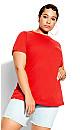 Plus Size Basic Longline Tee - red
