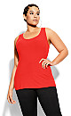 Plus Size Racer Rib Tee - red
