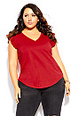 Plus Size Leisure Frill Top - red