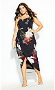 Plus Size Pixel Floral Dress - black