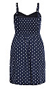 Plus Size Tie Spot Dress - navy