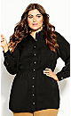 Plus Size Rouche Love Tunic - black