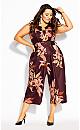 Plus Size Orchid Floral Jumpsuit - plum