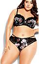 Plus Size Mimi Floral Longline Contour Bra - black