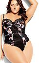 Plus Size Mimi Floral Bodysuit - black