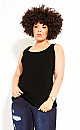 Plus Size Day Rib Cami - black