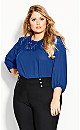Plus Size Lace Angel Elbow Sleeve Top - lapis