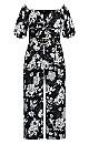 Plus Size Mod Floral Jumpsuit - black