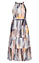 Brushstroke Maxi Dress - mauve