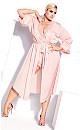 Plus Size Slinky Midi Robe - soft pink