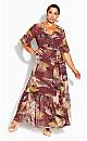 Plus Size Tropical Heat Maxi Dress - plum