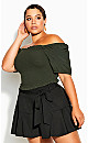 Plus Size Sweetly Shirred Top - fern