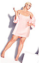 Satin Chemise & Robe Set - soft pink