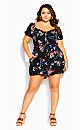 Paradise Floral Playsuit - black
