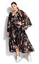 Bold Blossom Maxi Dress - black